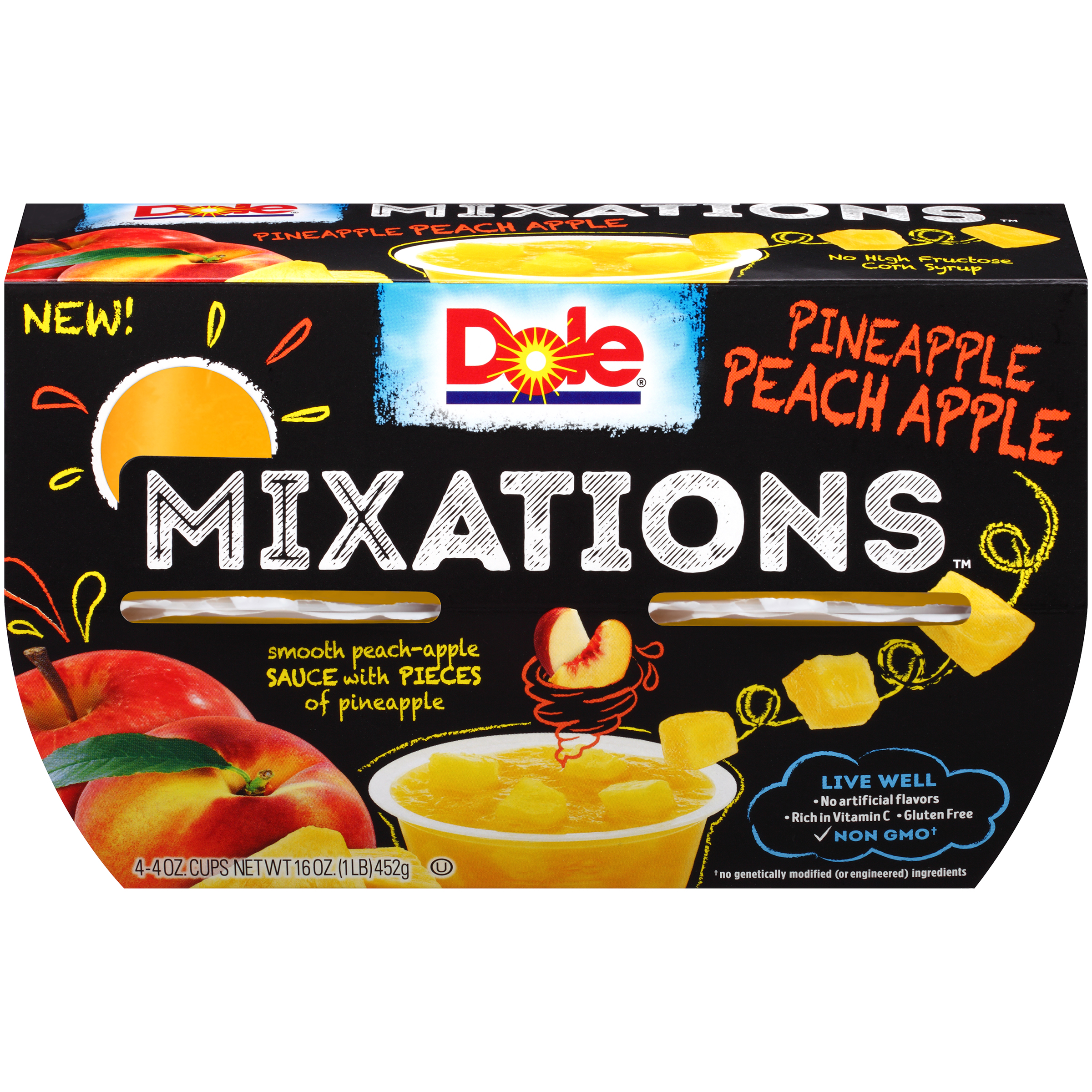 Dole Fruit Bowls, Mixations Pineapple Peach Apple, 4 Ounce (4 Cups)