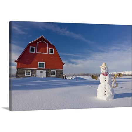 Great BIG Canvas   Kevin Smith Premium Thick-Wrap Canvas entitled Snowman dressed up as a cowboy standing in front of a vintage red barn - Cowboy Snowman