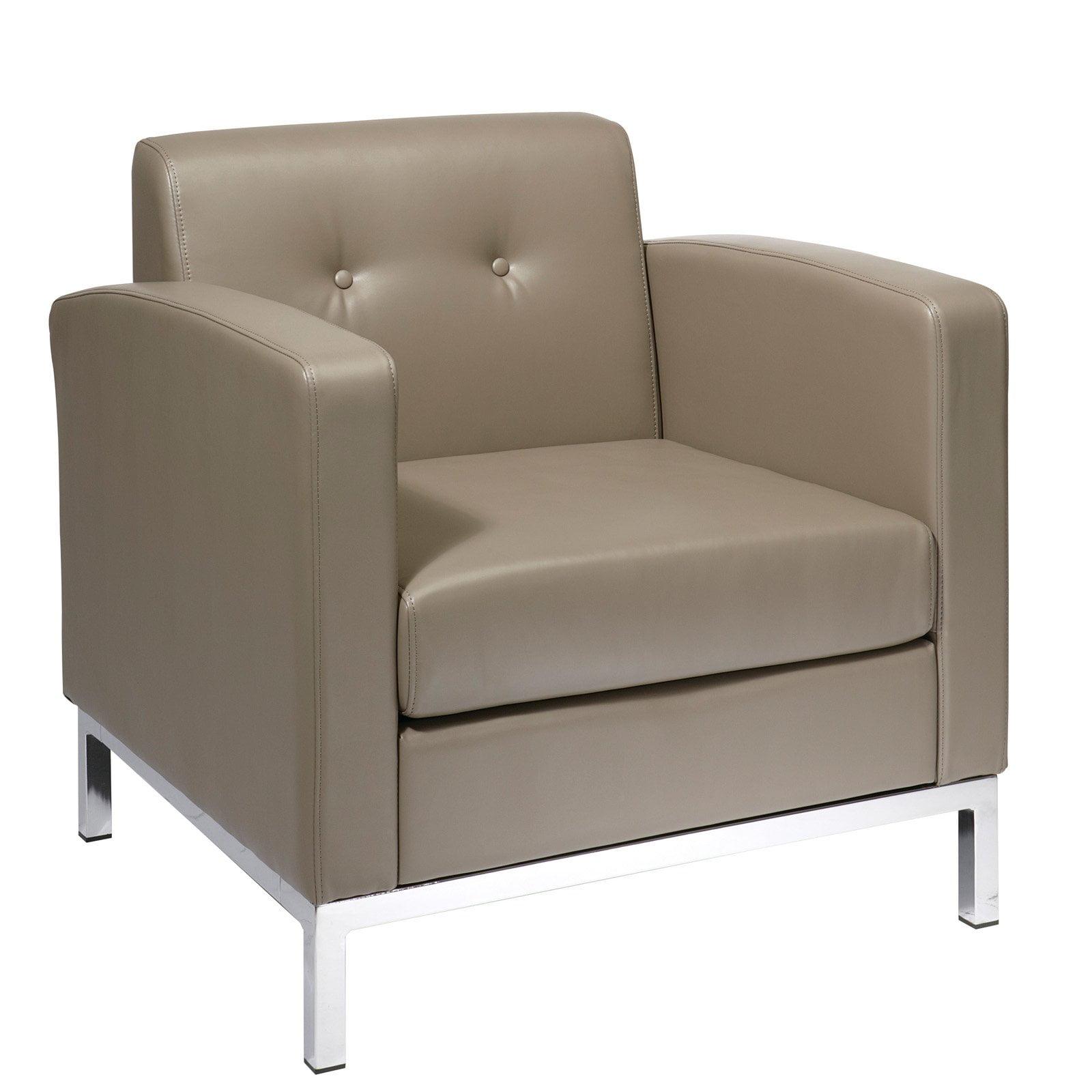 Wall Street Arm Chair. Smoke Faux Leather