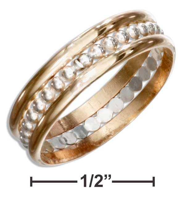 STERLING SILVER AND 12KT GOLD FILLED BAND RING WITH STERLING SILVER BEADED CENTER
