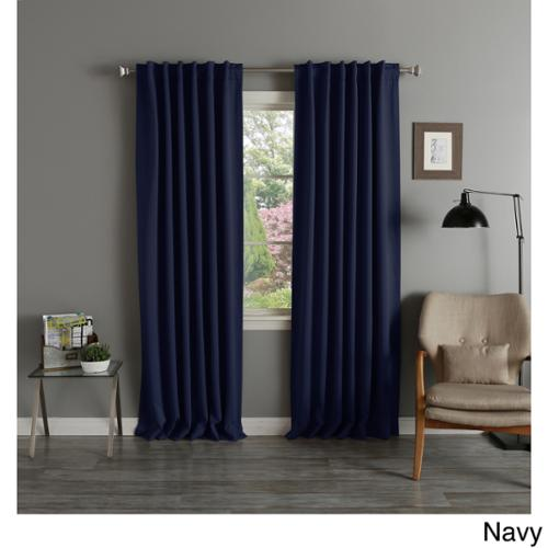 Aurora Home Thermal Rod Pocket 96-inch Blackout Curtain Panel Pair Navy