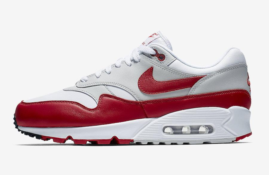 Mens Nike Air Max 90 1 OG Sport Red White University Red Neutral Grey by