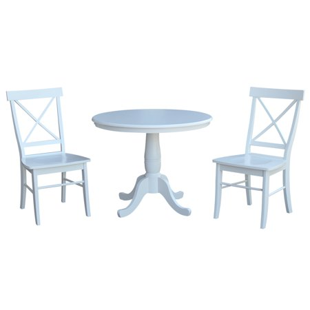 Astonishing 36 Round Dining Table With 2 X Back Dining Chairs In White 3 Piece Set Short Links Chair Design For Home Short Linksinfo