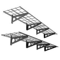 FLEXIMOUNTS 2-Pack 1x6ft 12-inch-by-72-inch Wall Shelf Garage Storage Rack Floating Shelves, Black