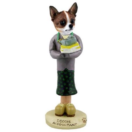 Chihuahua Brindle & White Accountant (Female) Doogie Collectable Figurine