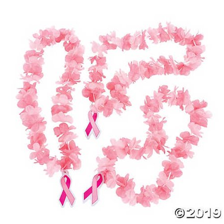 Breast Cancer Awareness Plastic Leis - 12 - Breast Cancer Awareness Favors