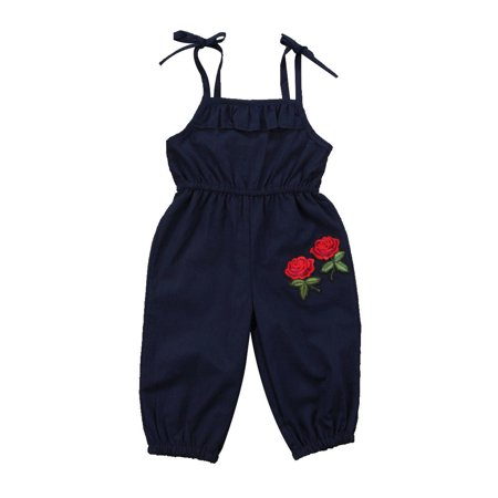 One opening 3D Rose Embroidery Infant Baby Girl Sleeveless Halter Strappy Jumpsuit Sunsuit Ruffle Romper Summer