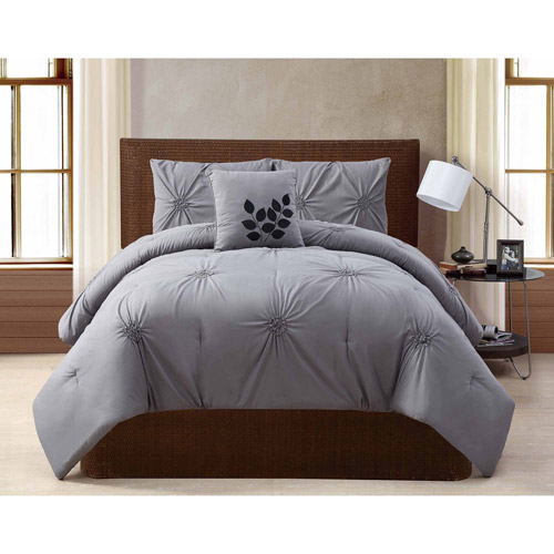 VCNY Home London Solid Textured 4-Piece Bedding Comforter Set, Multiple Colors Available