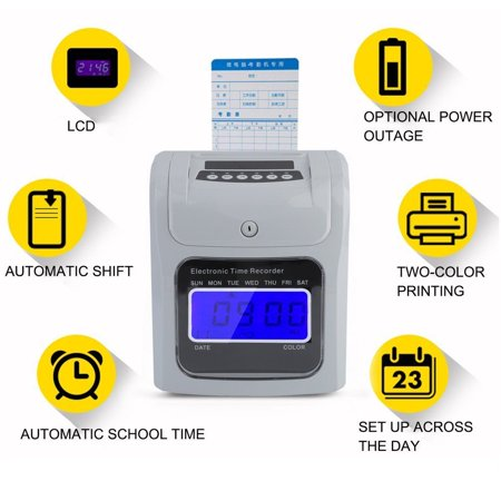 LCD Display Employee Attendance Punch Time Clock Checking Machine Payroll Electronic Time Recorder US Plug