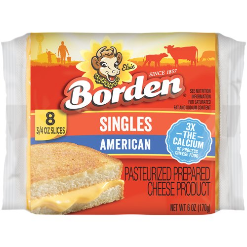 Borden Singles American Cheese, 8 ct