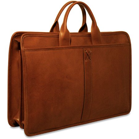 Collection Briefcase - Belmont Collection Double Gusset Top Zip Briefcase in Cognac