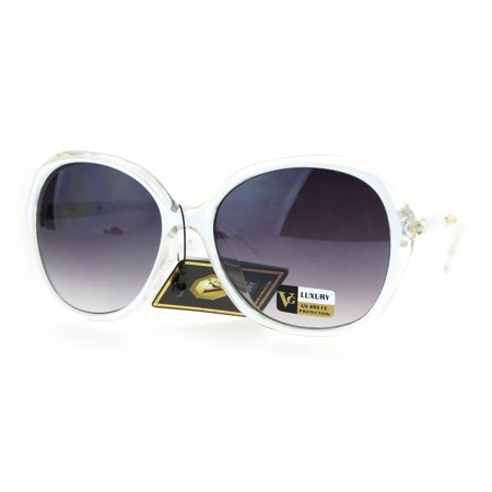 Womens Designer Fashion Rhinestone Diva Large Butterfly Sunglasses White Clear