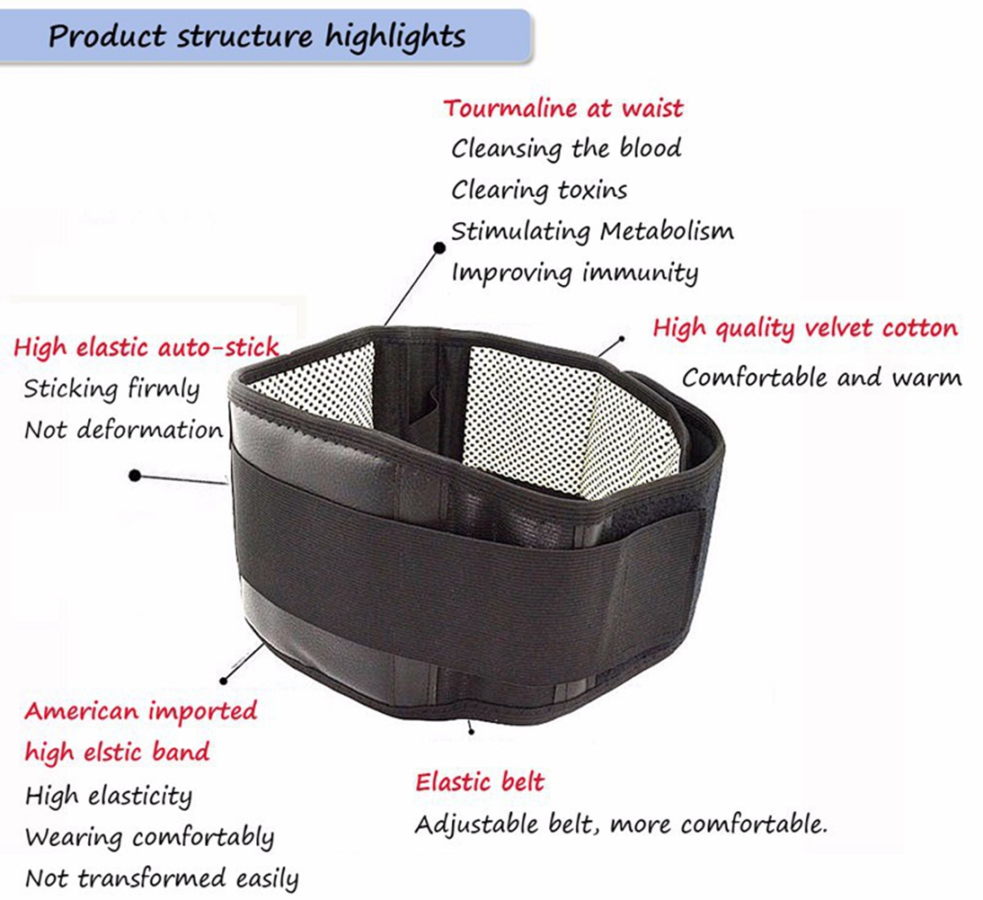Lumbar Support Belt Adjustable Tourmaline Self Heating Magnetic Autostick Electrical Diagrams Ii Therapy Brace Belts Thermal Protection Double Banded Black M