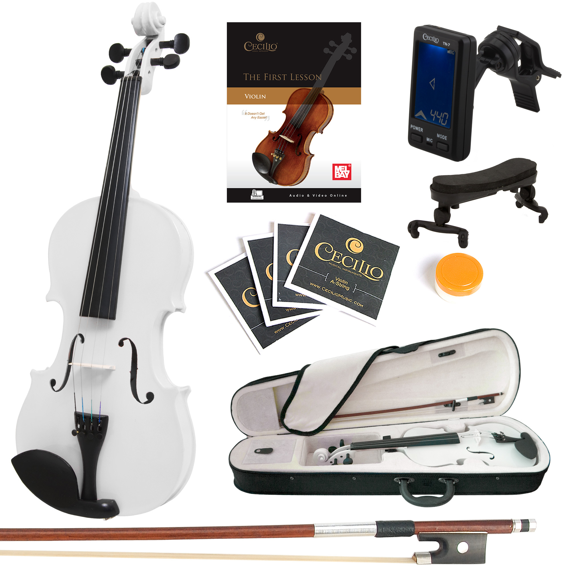 Mendini Full Size 4/4 MV-White Solid Wood Violin w/Tuner, Lesson Book, Shoulder Rest, Extra Strings, Bow, 2 Bridges & Case