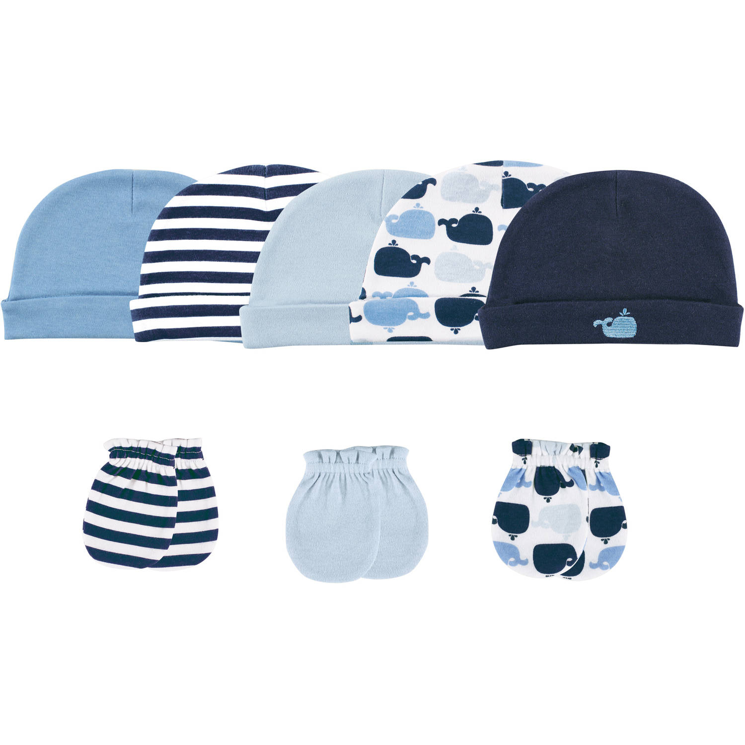 Luvable Friends Newborn Baby Boys Cap 5-Pack & Mitten 3-Pack - Whale, 0-6 months