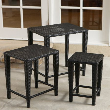 black all weather wicker nesting end tables set of 3