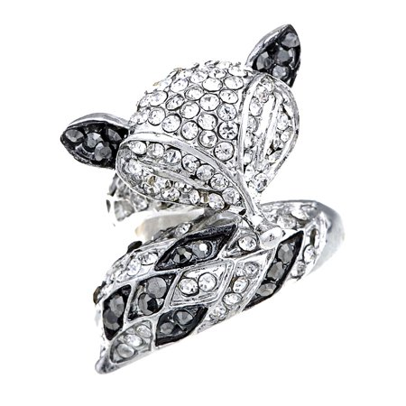 Sly Foxy Fox Animal Crystal Rhinestone Silver Tone Jewelry Fashion Adj (Adj Silver Ring)