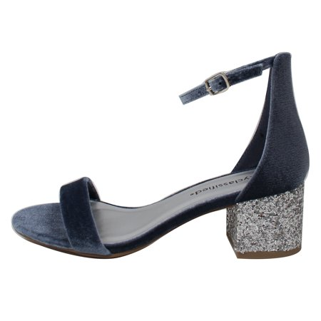 0155e7e6d9 City Classified Women's Open Toe Velvet Ankle Strap Glitter Block Heel  Sandal (Blue, 6 B(M) US)