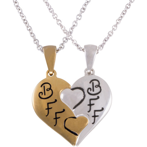 "Connections from Hallmark Stainless Steel Two-Tone ""BFF"" Breakaway Heart Pendants, 18"" with 2"" Extender"