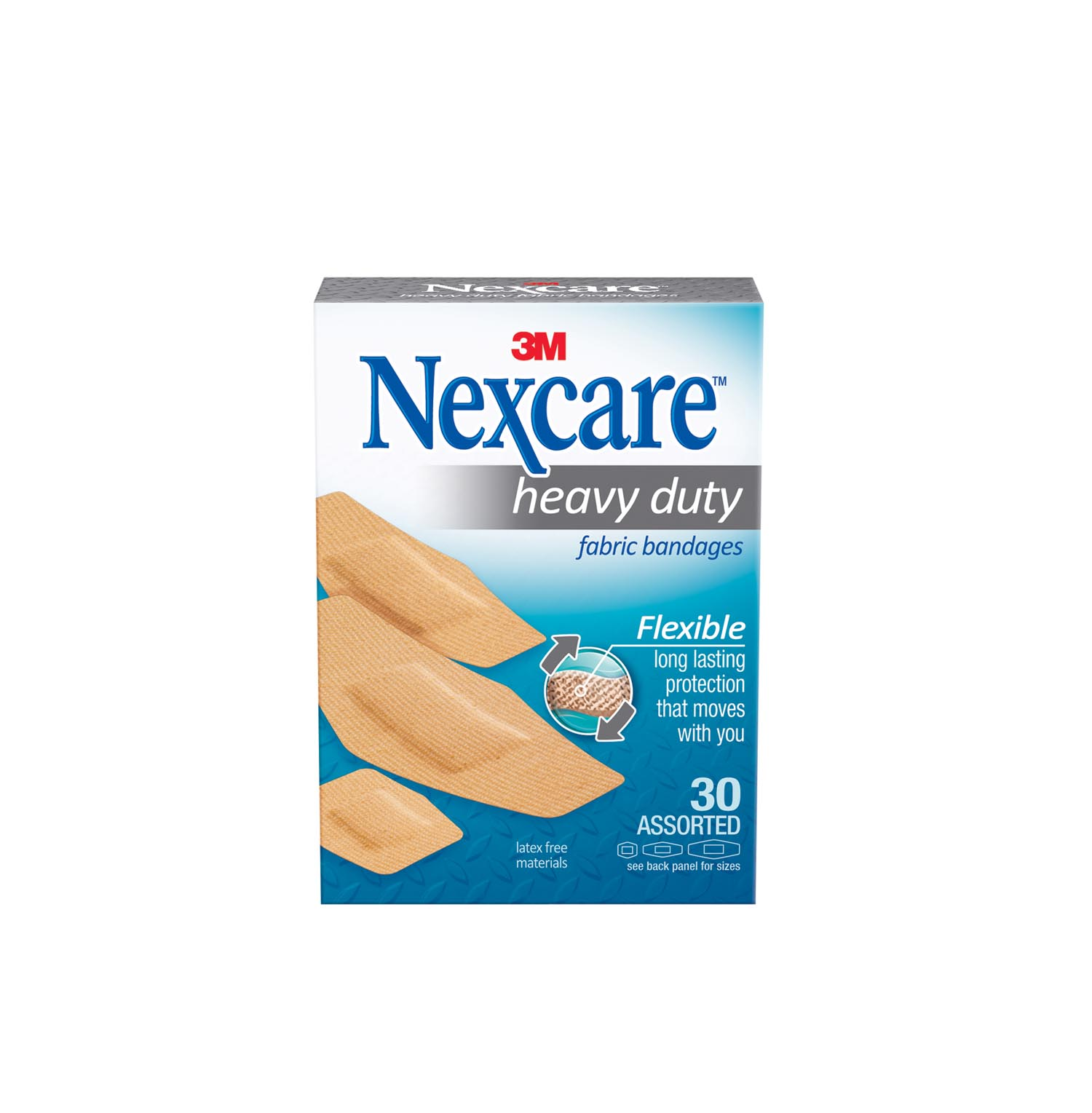 Nexcare Heavy Duty Fabric Bandages, 30 ct