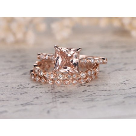 2 Carat Princess Cut Morganite and Diamond Trio Wedding Ring Set in Rose