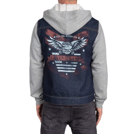 Rock n Roll Eagle Men's Denim Jacket Hoodie, up to size