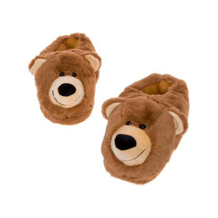 Silver Lilly Bear Face Plush Teddy House Slippers with Comfort Foam Sole Panda Bear Slippers