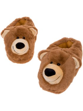 Silver Lilly Bear Face Plush Teddy House Slippers with Comfort Foam Sole