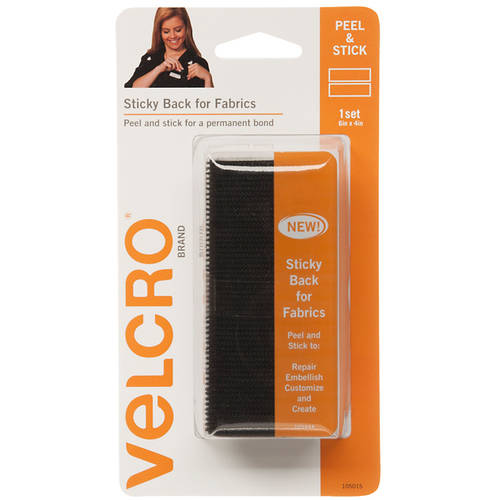 "Velcro 6"" x 4"" Rectangles, 1 Set, Black, English Only"