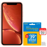 Walmart Family Mobile Apple iPhone XR, 64GB, Coral - Prepaid Smartphone + WFM $39.88 UNLIMITED