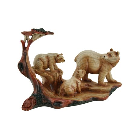 Mother Bear and Cubs Carved Wood Look Resin Statue - image 3 de 3