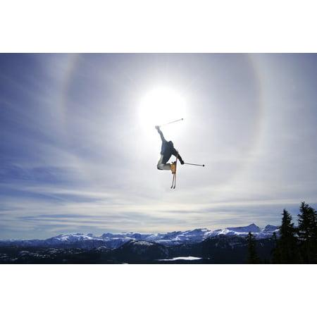 Skier Jumping Courtenay Bc Canvas Art - Josh McCulloch Design Pics (36 x 24)