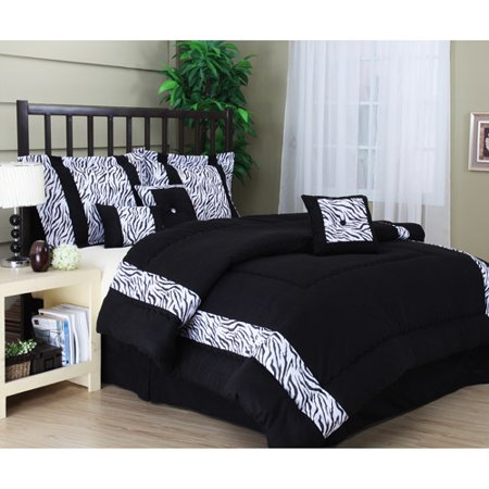 Mali 7-Piece Bedding Comforter Set, Black and White