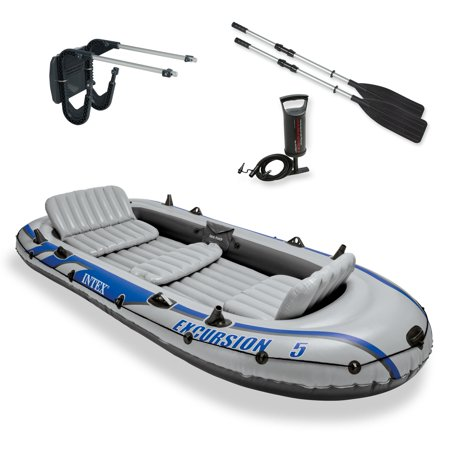 Intex Excursion 5 Inflatable Rafting and Fishing Boat with Oars + Motor