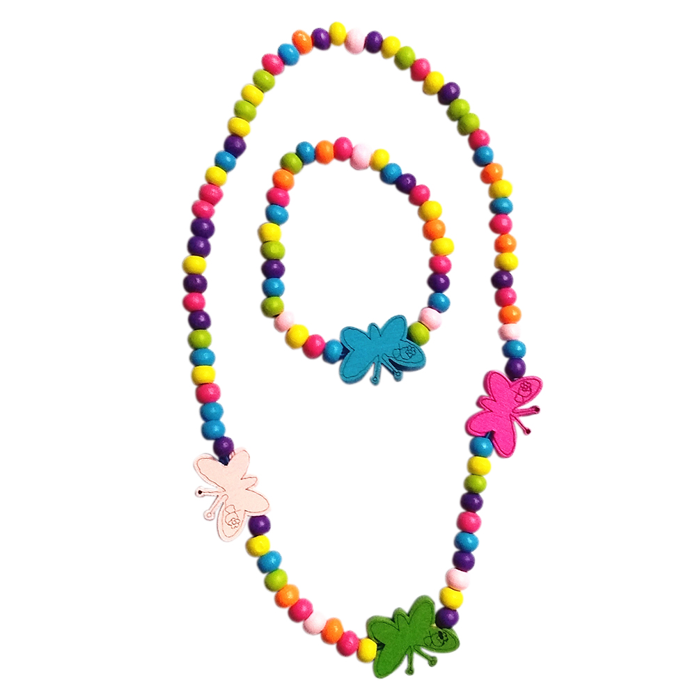 Fashion Children Butterfly Jewelry Set Girls Colorful Wooden Necklace Bracelet Kids Gift Color:colorful