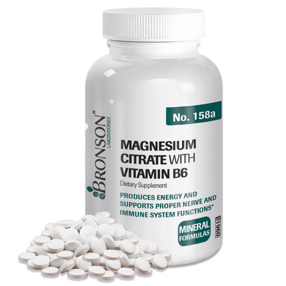 Bronson Magnesium Citrate with Vitamin B-6, 100 Tablets