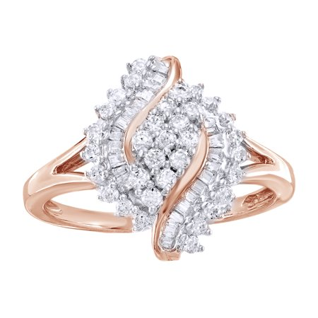 White Natural Diamond Marquise Cluster Twist Ring in 10k Rose Gold