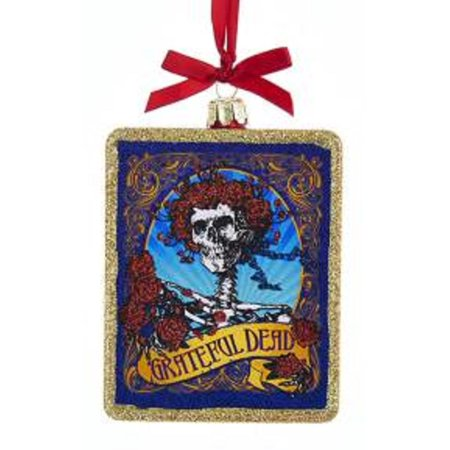 Grateful Dead Christmas Ornament.4 Red Gold And Blue Grateful Dead Skull With Roses Glass Christmas Ornament