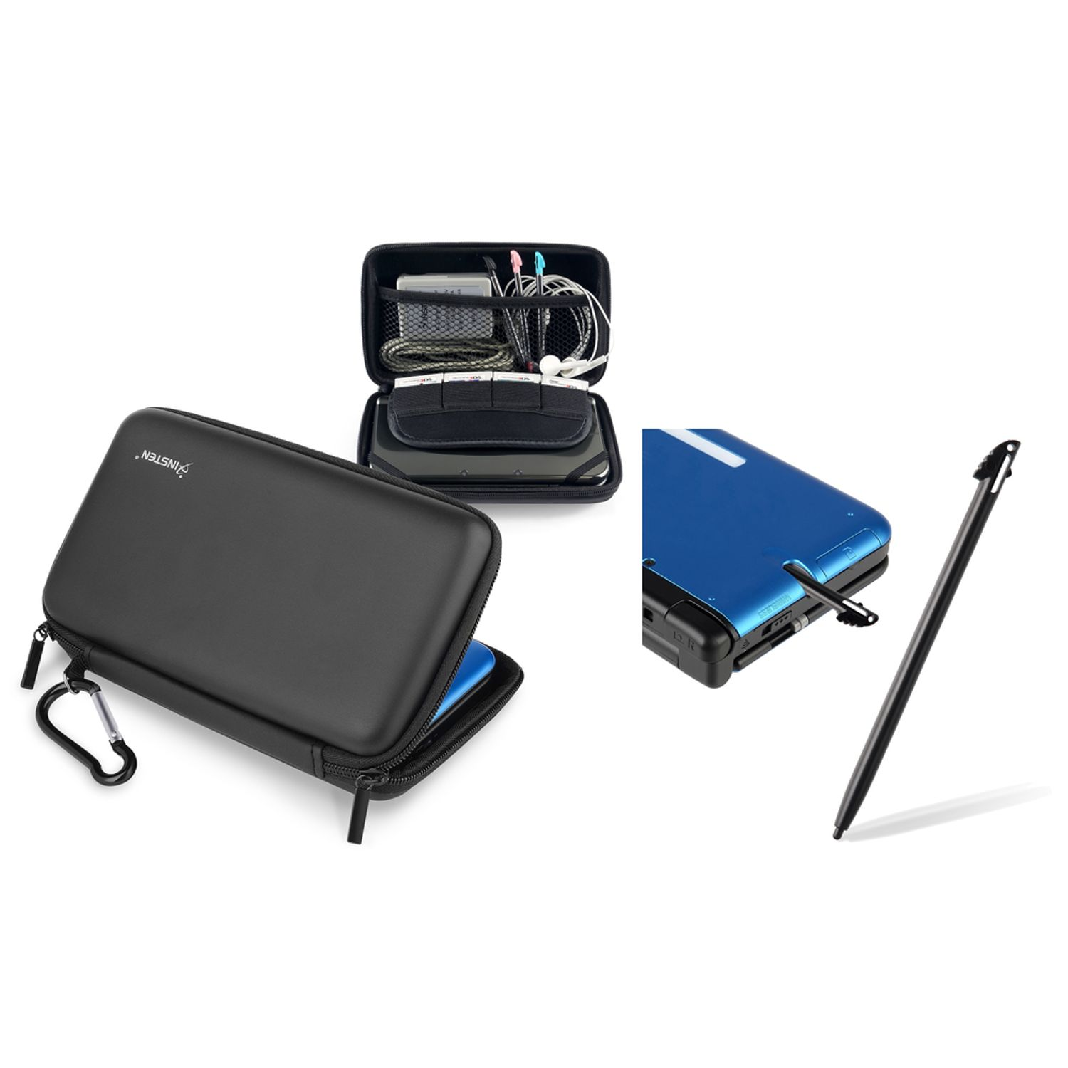 Nintendo 3DS XL Stylus Pen, Black + EVA Skin Carry Hard Case by Insten, Black