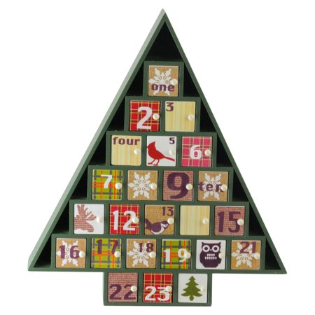 Christmas Holiday Advent Calendar - Northlight 14 in. Rustic Green Plaid Decorative Tree Shaped Advent Christmas Calendar