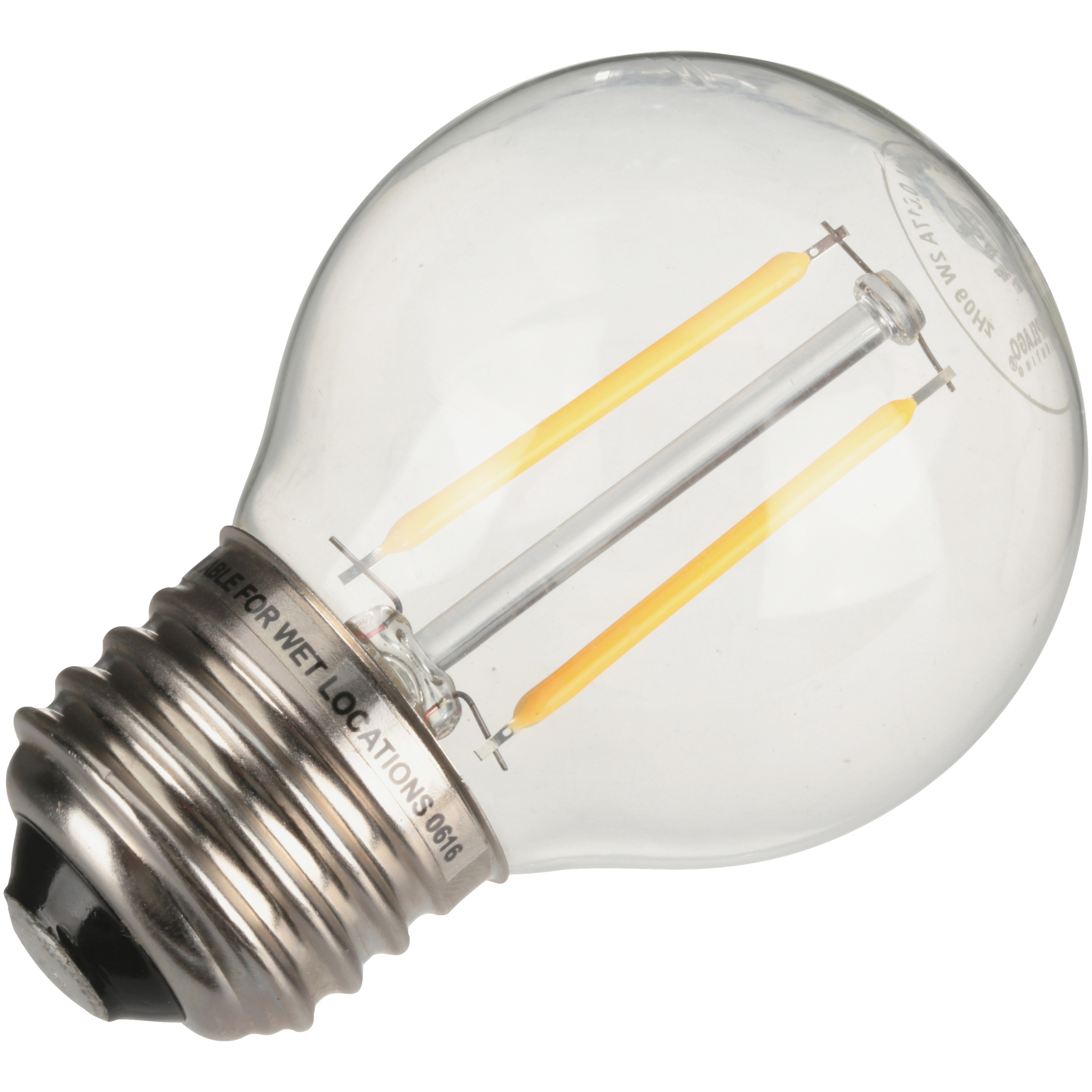 Nu-Tech LED Filament Globe Light Bulb, 2W (25W Equivalent), Clear, 1-count
