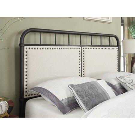 Beaumont Lane Queen Upholstered Metal Bed in Black - image 1 de 4
