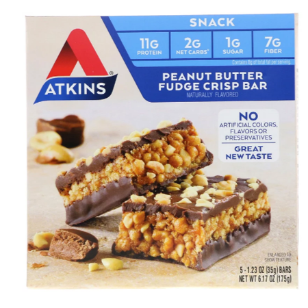 Peanut Butter Crispy Treats (Atkins, Day Break, Peanut Butter Fudge Crisp, 5 Bars, 1.2 oz (35 g) Each(pack of 12))