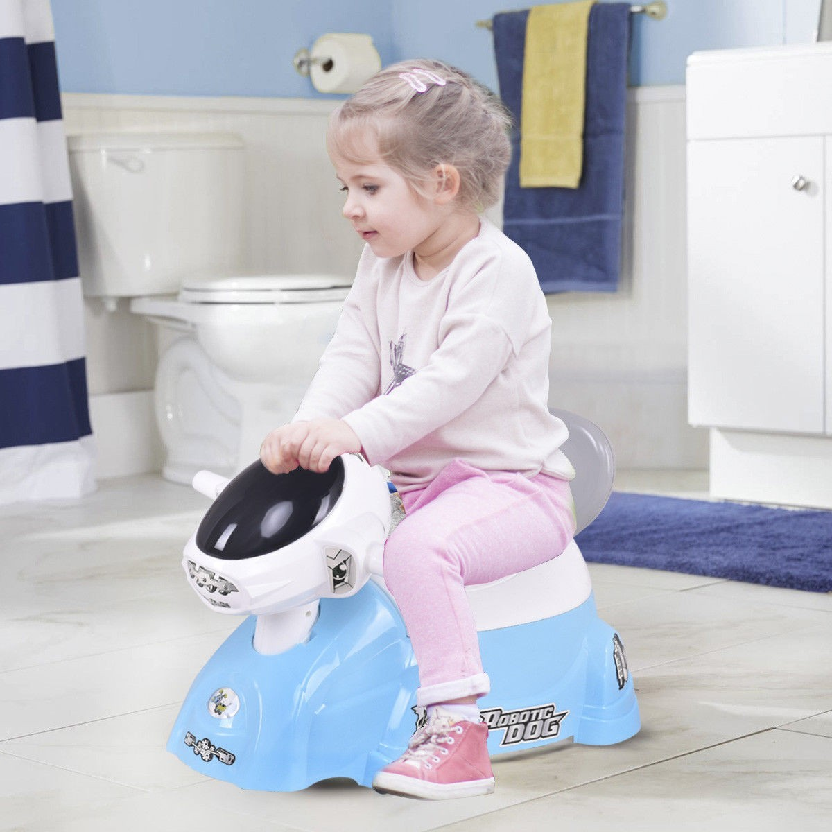 Kids Baby Potty Training Toilet Trainer Seat with Music Slide Function Blue Dog by Apontus