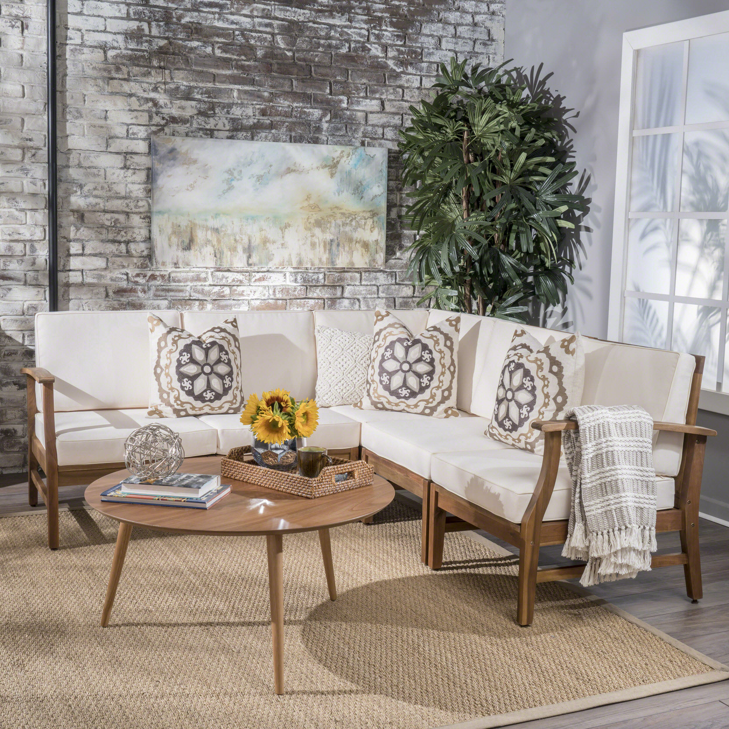 Elby Indoor Farmhouse 5 Piece Chat Set with Cushions, Teak Finish, Cream