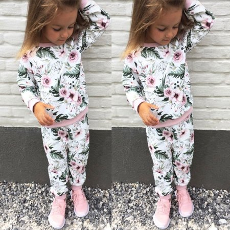 Toddler Kids Baby Girls Floral Long Sleeve Top+Pants Leggings Fall Outfit Clothing (80's Outfits For Girls)