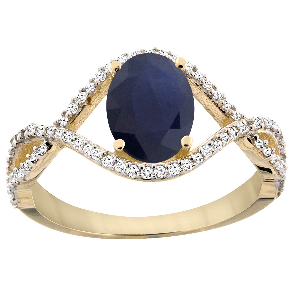 14K Yellow Gold Natural Australian Sapphire Ring Oval 8x6...