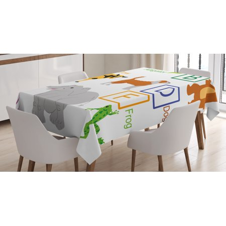 Educational Tablecloth Alphabet Letters With Cute Zoo Animals Kids