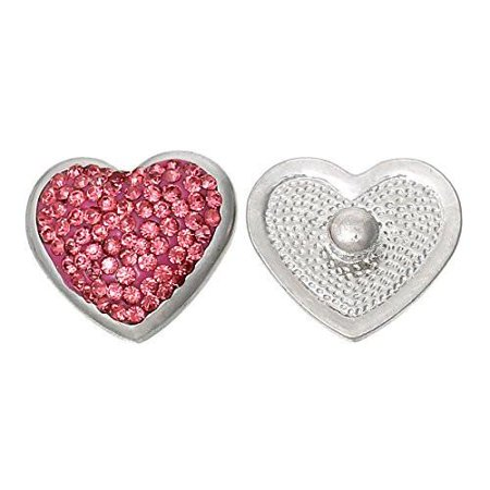 Chunk Snap Jewelry Button Heart Hot Pink Silver Tone Fit Chunk Bracelet Rhinestone](Jewelry Snaps)