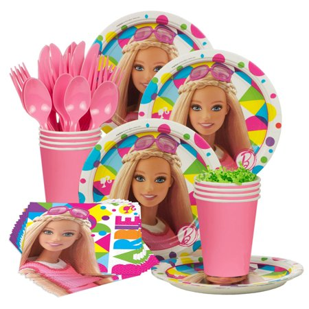 Barbie Sparkle Standard Birthday Party Tableware Kit - Party Supplies (Barbie Halloween Party Games)
